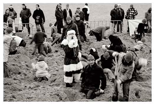 Kerstman op het strand